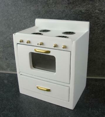 Dolls House White Wooden Modern Cooker Stove Unit Miniature Kitchen Furniture
