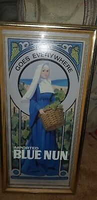 IMPORTED BLUE NUN SIGN / PROMO PICTURE VINTAGE RARE WINE goes everywhere sign