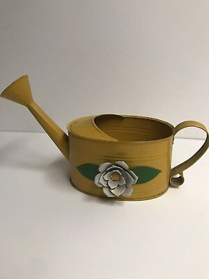 Vintage Watering Can Yellow Metal