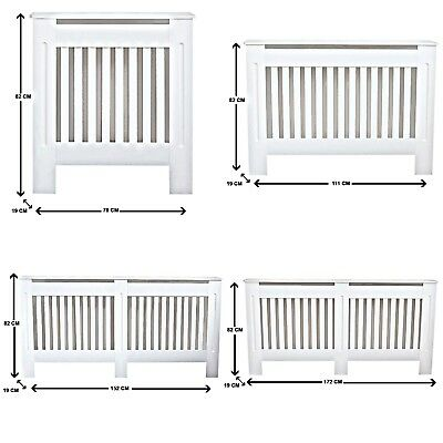 White Painted Radiator Covers Modern Cabinet Slatted Grill Wood Furniture MDF