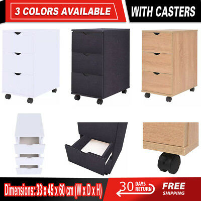 Mobile Office Filling Cabinet Pedestal Under Desk Storage Unit Castors 3 Drawers