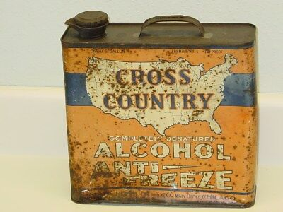 Vintage Sears Roebuck Cross Country Anti Freeze Can, Original