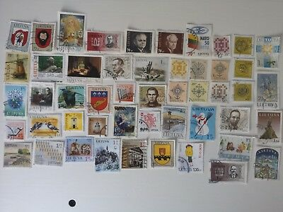 50 Different Lithuania Stamp Collection - Post 1991