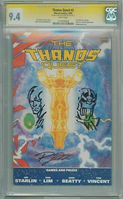 Thanos Quest #2 Cgc 9.4 Signature Series Signed Ron Lim Silver Surfer Sketch Oa
