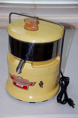 Vintage Juice King Heavy Duty Electric Juicer - Yellow Cast Iron & Enamel