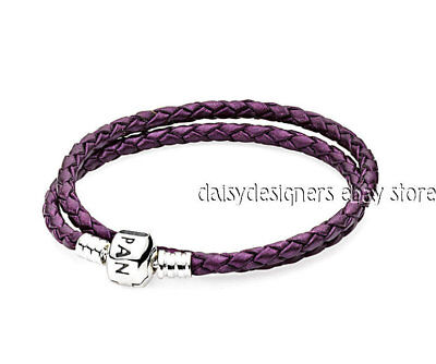 dcf00cf47 NEW Authentic Pandora Woven Purple DOUBLE LEATHER Bracelet 15 38cm RETIRED