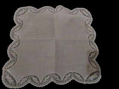 Vintage White Wedding scallop lace linen hanky handkerchief, 11""