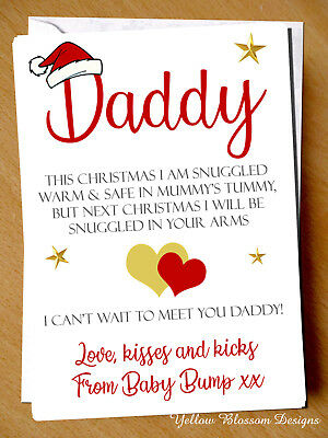 Love From Baby Bump 1st Christmas Card Poem Daddy Dad To Be Xmas Love Husband