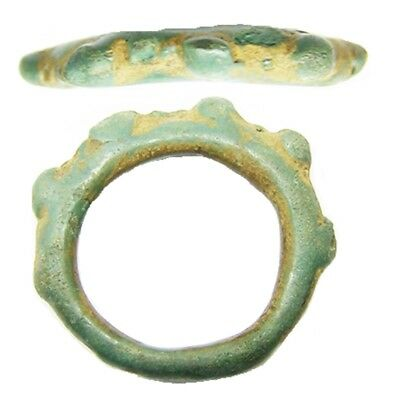 5th - 3rd century B.C. Iron Age Celtic Bronze Knobbled Finger Ring Size 8 1/2