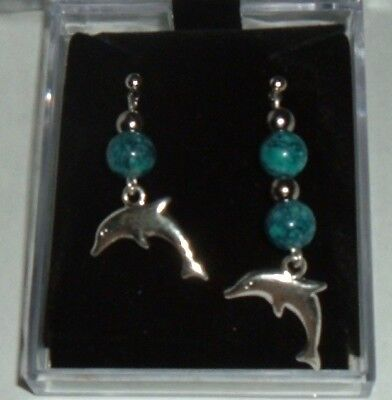 DOLPHIN BLUE MARBLE BEAD Earrings NEW Surgical steel POSTS