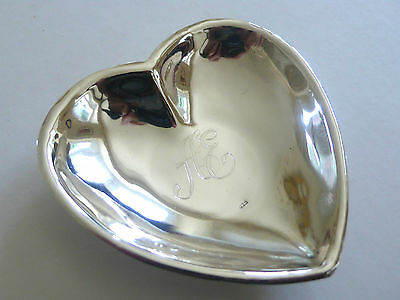 Vtg Solid 925 Sterling Silver 21Gm Handmade Small Heart Shaped Dish Initialed AE