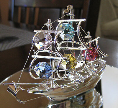 Schooner Sail Boat Ship Ornament with Swarovski Octagon Prisms, silver Plated