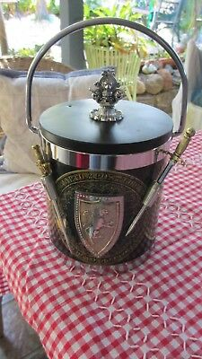 Vintage Retro Ice Bucket Decorated with Swords & jousting pictures