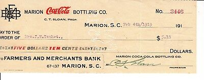 MARION COCA-COLA BOTTLING CO. CHECK  MARION SC  DATED  FEB. 4th,  1919
