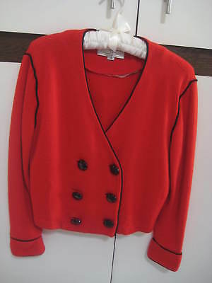 Vintage St John Collection by Marie Gray  Red Knit Double Breasted Shorty Jacket