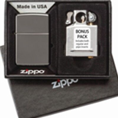Zippo Black Ice Windproof Engravable Lighter and Pipe Insert Gift Set 29789 L@@K