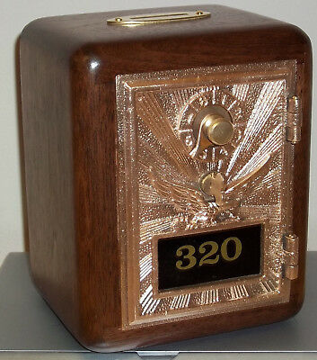 Post Office Box Door Bank -1906 Bronze Eagle w/Brass slot-walnut