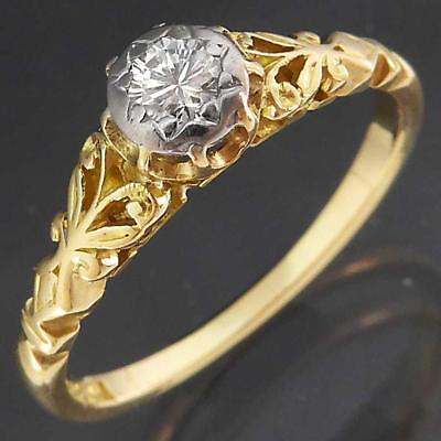 Vintage 1950's Solid 18k Yellow & White GOLD DIAMOND SOLITAIRE RING Sz K