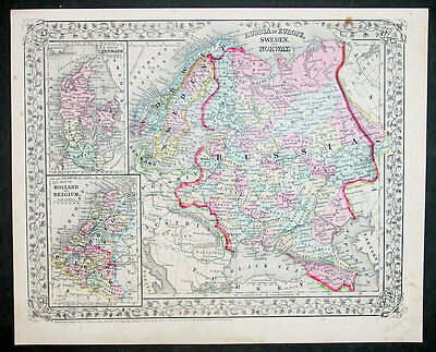 1867 S Augustus Mitchell Antique Map of Russia in Europe, Scandinavia, Denmark