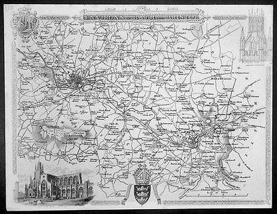 1836 Thomas Moule Original Antique Map of Environs of Bath and Bristol, England