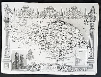 1836 Thomas Moule Original Antique Map of The County of Yorkshire NR, England