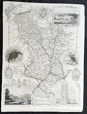 1836 Thomas Moule Original Antique Map of The County of Derbyshire, England