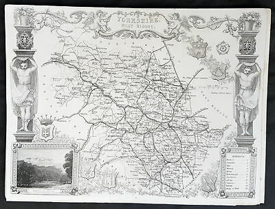 1836 Thomas Moule Original Antique Map of The County of Yorkshire WR, England
