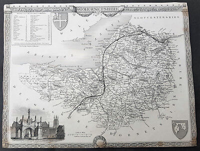 1836 Thomas Moule Original Antique Map of The English County of Somerset