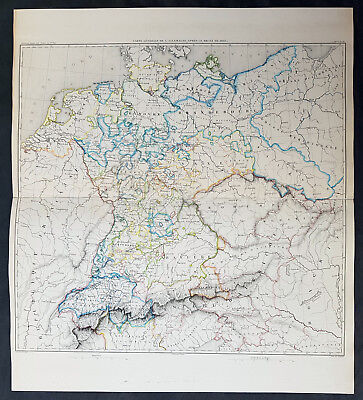 1835 Thiers Original Antique Napoleonic Map of Germany & Central Europe in 1803