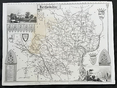 1836 Thomas Moule Original Antique Map of The County of Hertfordshire, England
