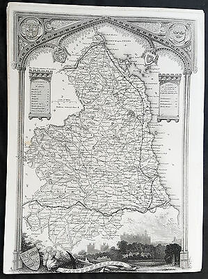 1836 Thomas Moule Original Antique Map of The County of Northumberland, England