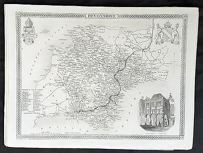 1836 Thomas Moule Original Antique Map of The County of Devonshire, England