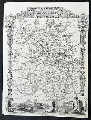 1836 Thomas Moule Original Antique Map of The English County of Shropshire