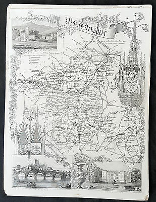 1836 Thomas Moule Original Antique Map of The County of Worcestershire, England