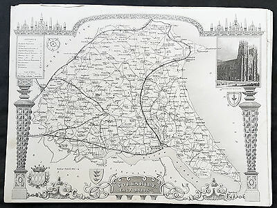 1836 Thomas Moule Original Antique Map of The County of Yorkshire ER, England