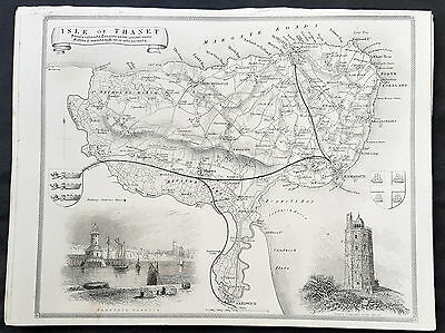 1836 Thomas Moule Original Antique Map of the Isle of Thanet, Kent, England