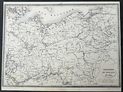 1835 Thiers Antique Map Napoleonic Battles in Prussia & Germany 1806, 1807, 1813