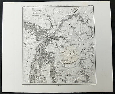 1835 Thiers Antique Napoleonic Map of the Battle of Leipzig & Environs, Germany
