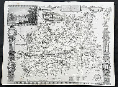 1836 Thomas Moule Original Antique Map of The County of Surrey, England