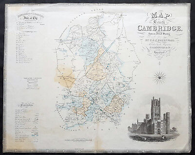 1834 C & J Greenwood Large Original Antique Map of English County of Cambridge