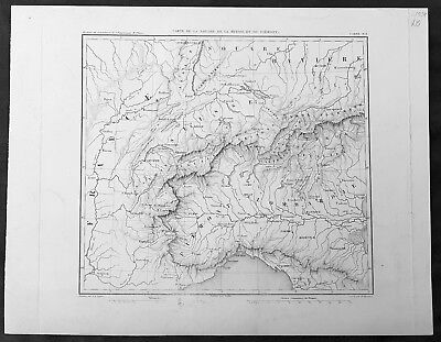 1835 Thiers Original Antique Map of Northern Italy Piedmont, Switzerland, France
