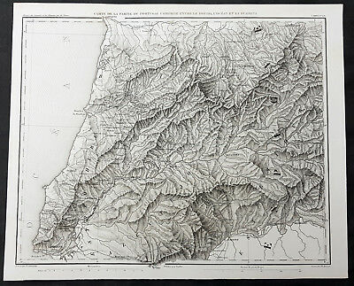 1835 Thiers Original Antique Map of Southern Coast of Portugal, Lisbon to Oporto