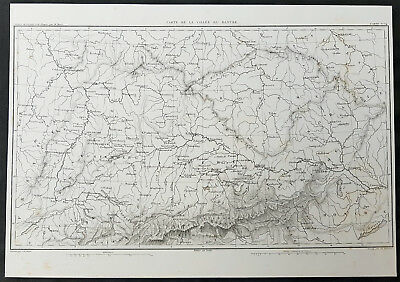 1835 Thiers Antique Napoleonic Map of Danube River Valley - Hungary to France