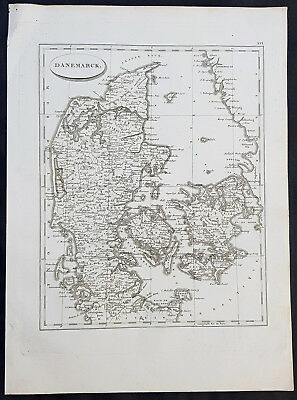 1804 Jean N Buache Original Antique Map of Denmark