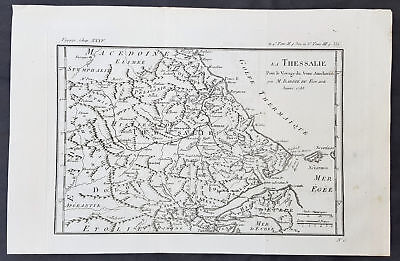 1788 Du Bocage & Barthelemy Antique Map of Thessaly region of Greece