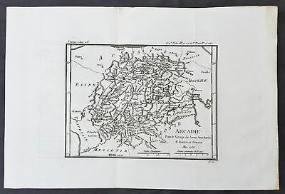 1786 Du Bocage & Barthelemy Antique Map of Arcadia Peloponnese, Greece - Tripoli
