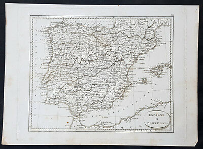 1804 Jean N Buache Original Antique Map of Spain, Portugal & Balearic Islands