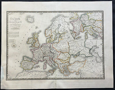 1826 Brue Large Old, Antique Map of Europe in Charlemagne's time - 8th century
