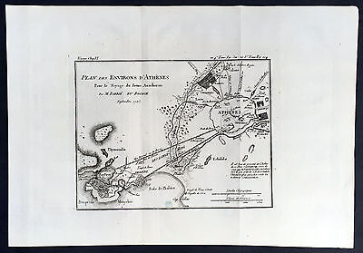 1785 Du Bocage Large Antique Map of The Environs of Athens to Piraeus, Greece