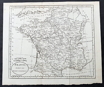 1770 Thomas Kitchin Antique Map of France Divided into Military Governments